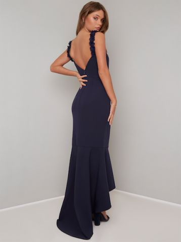 Chi Chi Michel Frill Maxi Bridesmaid Dress Navy