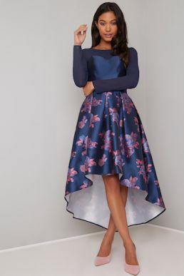 Chi Chi Niama Floral Print High Low Dress Navy Blue Multi