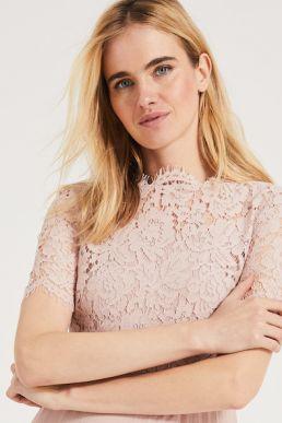 Phase Eight Elisabetta Lace Overlay Maxi Bridesmaid Dress Pink Blush