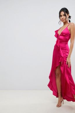 For Love & Lemons Isabella maxi dress with plunge back Hot pink