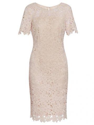 Gina Bacconi Carole Lace Shift Dress Pink Blush