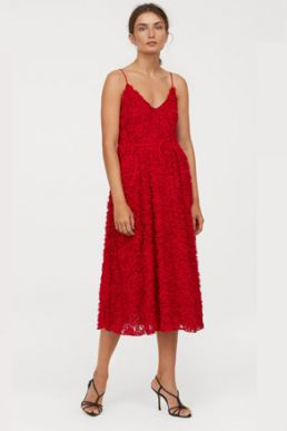 H&M Cami Strap Dress with appliqués Red