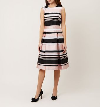 Hobbs Bridgette Stripe Dress Pink Black
