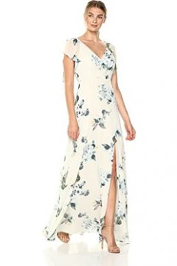 Jenny Yoo Alanna Flutter Sleeve Floral Chiffon Maxi Bridesmaid Dress Ivory Green
