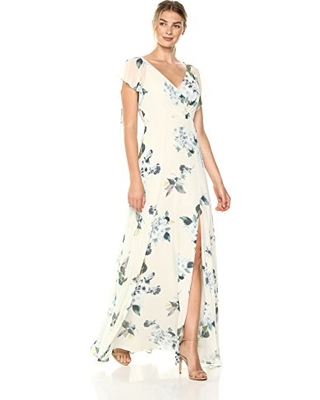 Jenny Yoo Alanna Flutter Sleeve Floral Chiffon Maxi Bridesmaid Dress Ivory Green