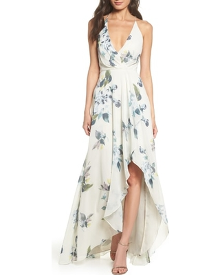 Jenny Yoo Farrah Halter Faux Wrap Floral Chiffon Bridesmaid Dress Ivory Green