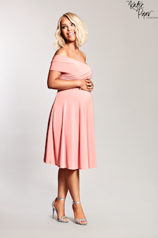 Katie Piper Maternity Wine Bardot Twist Front Detailed Dress Pink