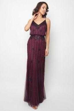 Lace & Beads Keeva Maxi Dress Burgundy