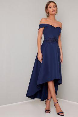 Chi Chi Amour Bardot High Low Bridesmaid Dress Navy