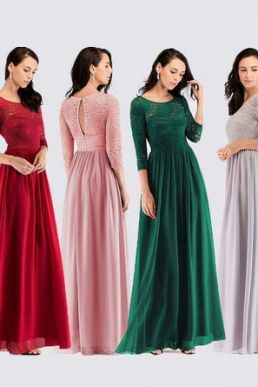 Ever Pretty 3/4 Lace Sleeve Maxi Chiffon Bridesmaid Dress, Burgundy EZ07680