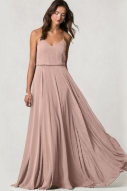 Jenny Yoo Inesse Luxe Chiffon Maxi Dress Pink Blush