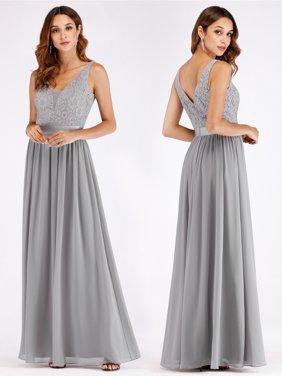 Ever Pretty Lace V Neck Maxi Chiffon Bridesmaid Dress Silver 07516