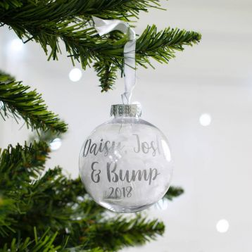 Personalised Baby Bump Christmas Bauble