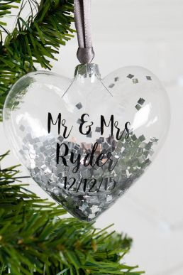 Personalised Mr And Mrs Heart Christmas Bauble