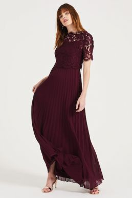 Phase Eight Elisabetta Lace Overlay Maxi Bridesmaid Dress Merlot Burgundy