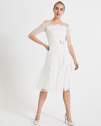 7c57f299ee8 Phase Eight Evette Short Sleeve Lace Wedding Dress Ivory. Phase Eight  Evette Short Sleeve Lace Wedding Dress Ivory