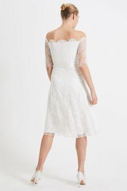 Phase Eight Evette Short Sleeve Lace Wedding Dress Ivory