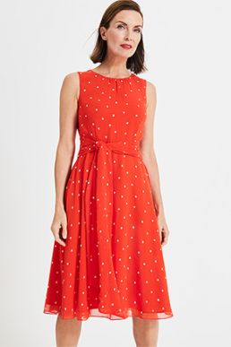 Phase Eight Fernanda Spot Dress Bright Red Orange