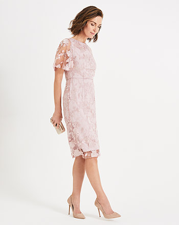 Phase Eight Harlow Sequin Lace Dress Pink