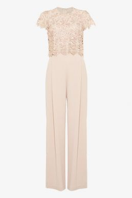 Phase Eight Katy Lace Jumpsuit Blush Light Pink Cameo