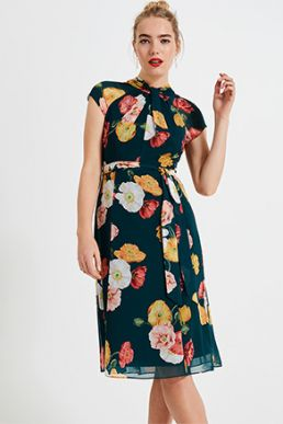 Phase Eight Laura Floral Print Dress Green Multi