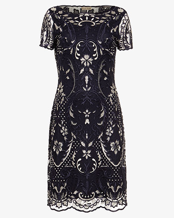 Phase Eight Lizzy Embroidered Dress Navy Ivory