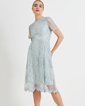 Phase Eight Malia Sequin Lace Dress Mint Green Blue