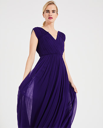 Phase Eight Marion Crinkle Maxi Dress Violet Blue