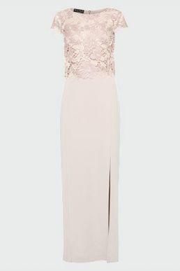 Phase Eight Olivia Lace Bodice Maxi Dress Pink Blush