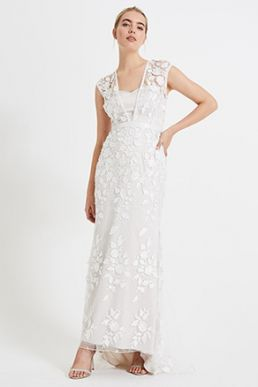 Phase Eight Peony 3D Floral Lace Wedding Dress Ivory