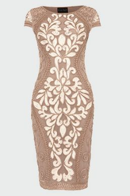 Phase Eight Perdy Tapework Dress Nuded Cream