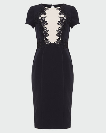 Phase Eight Phoebe Lace Bodice Dress Black White