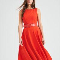 Phase Eight Shona Belted Fit & Flare Dress Orange
