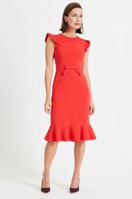 Phase Eight Stella Bow Detail Dress Bright Red Orange