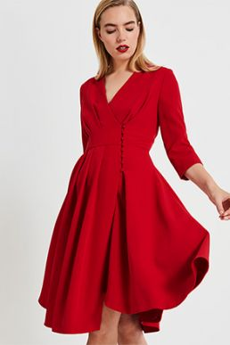 Phase Eight Tania Coat Sleeve Dress Red
