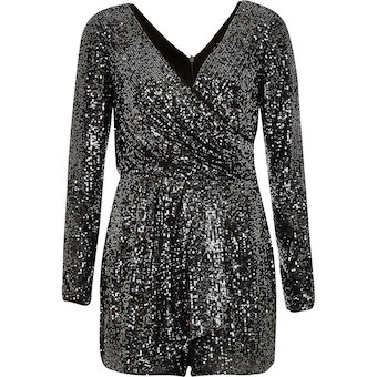337e0a91d9 River Island Dark grey sequin wrap front playsuit