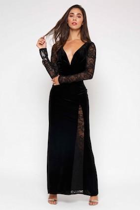TFNC Hakima Black Lace Maxi Dress