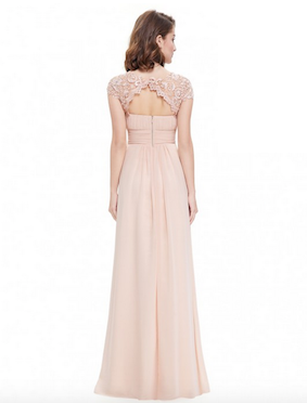 Ever Pretty Lace Open Back Ruched Bridesmaid Dress Blush Pink