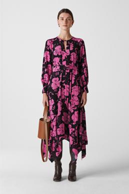 Whistles Ari Hibiscus Belted Dress Pink Black