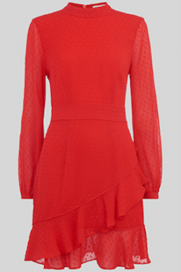 Whistles High Neck Dobby Frill Dress Bright Red