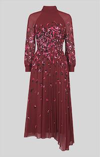 Whistles Leo Print Pleated Dress Burgundy Multi