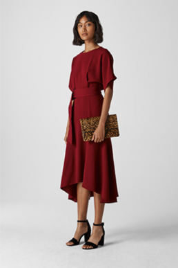 Whistles Textured Belted Midi Dress Red