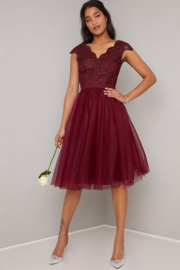 Chi Chi Joey Tulle Short Lace Bridesmaid Dress Red Burgundy