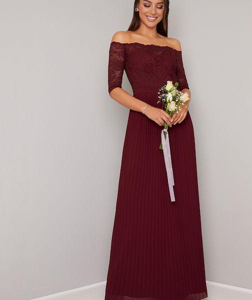 Chi Chi Whitley Lace Bardot Sleeve Pleat Bridesmaid Maxi Redburgundy