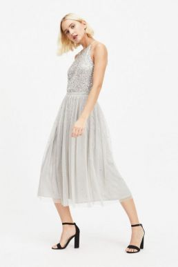 MAYA Cut Out Back Sequin and Tulle Maxi Dress Silver