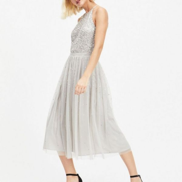 3741cb2f0df8 MAYA Cut Out Back Sequin and Tulle Dress, Silver | myonewedding.co.uk