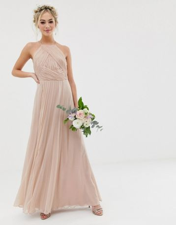ASOS DESIGN Bridesmaid pinny maxi dress with ruched bodice soft blush pink