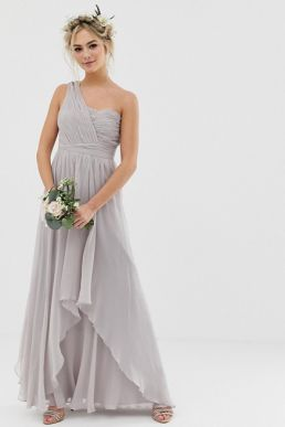 ASOS DESIGN Bridesmaid soft layer maxi dress with one shoulder pleated bodice Dove grey