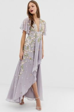 ASOS DESIGN dipped hem maxi dress with 3D embelishment and ruffle sleeve lilac