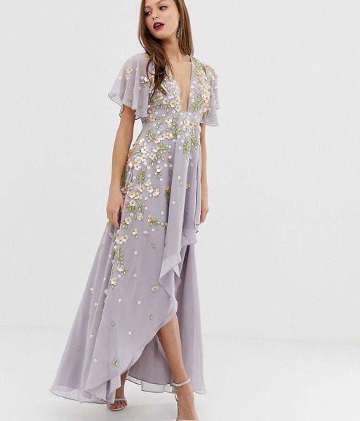 df770cf83bc ASOS DESIGN dipped hem maxi dress with 3D embelishment and ruffle sleeve  lilac